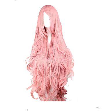 divat+pink+cosplay+parókát+szintetikus+haj+nő+hosszú+hullámos+paróka+animációs+rajzfilm+parókák+party+paróka+–+EUR+€+12.34