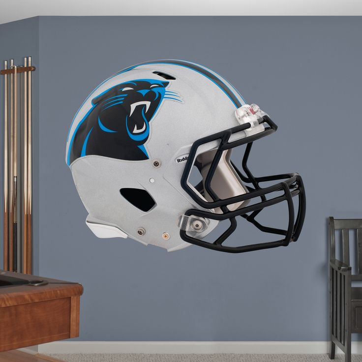 DIY Wall Decals | A Fathead stays up on its own with a low-tac adhesive that won't damage your walls, making this wall graphic easy to move and reuse. SHOP http://www.fathead.com/nfl/carolina-panthers/carolina-panthers-2012-helmet-wall-graphic/ | DIY Bedroom Decor for Boys + Girls | Custom Decals | Peel & Stick | Man Cave