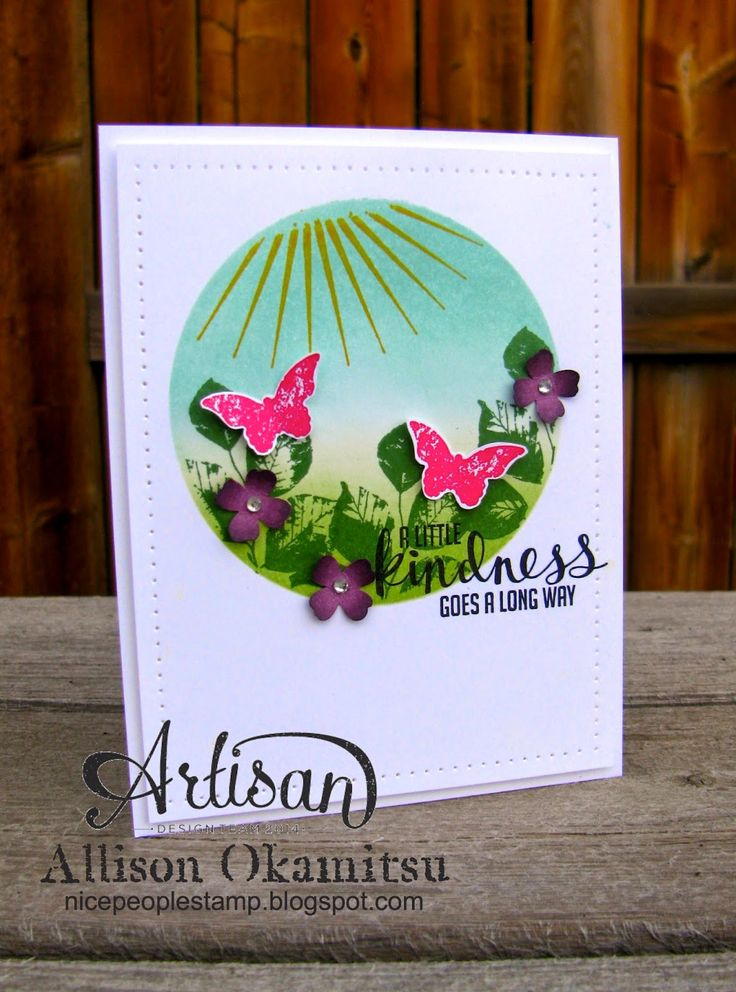 nice people STAMP!: Stampin' Up! Convention 2014 Display Board Project 3: Kinda Eclectic Sponged Background Card by Allison Okamitsu