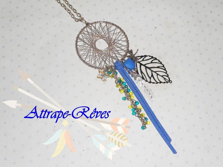 Collier sautoir attrape rêve dreamcatcher, argenté, bleu, vert, feuille…