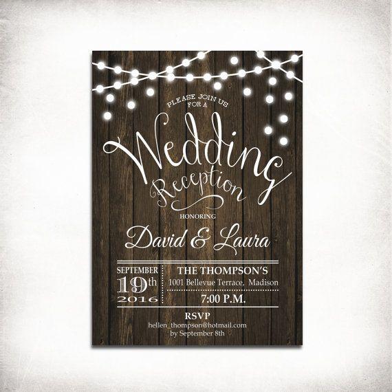 Wedding Reception Invitation Rustic Printable Wood Invitation