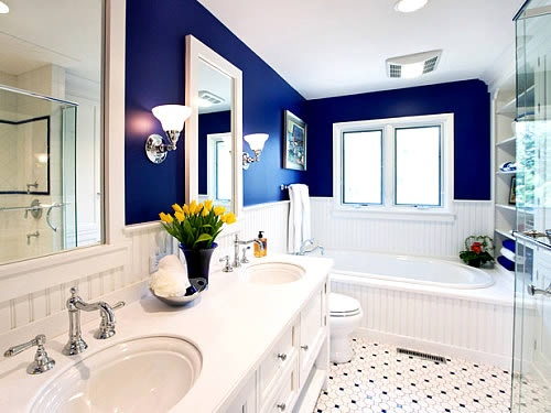 Love The White And Royal Blue Would Subway Tiles Instead On Walls Home Ideas Pinterest Bathroom