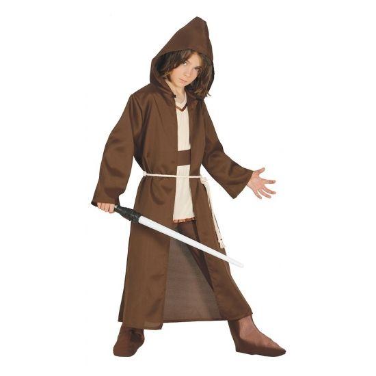 Ruimte meester kostuum in de kleur bruin. Geschikt voor kinderen. Dit kostuum bevat de tuniek met capuchon en riem. Materiaal: 100% Polyester.