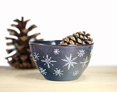 Hand Painted Ceramic bowl Navy Blue Winter Snowflakes Rustic Oatmeal Desert Icecream bowl Minimal Kitchen Decor