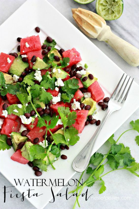 Craving light & healthy salads?  Try this Watermelon Fiesta Salad!  It's Summer on a plate.