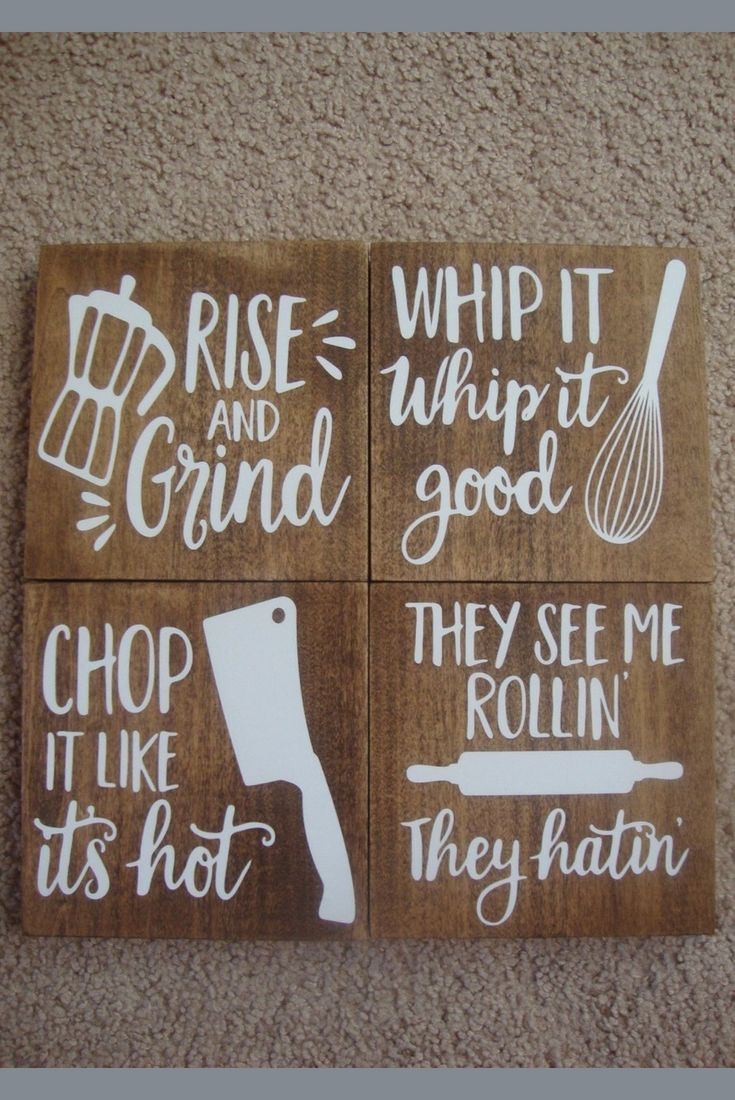 Set Of 4 Funny Kitchen Signs Rise And Grind Whip It Good Chop It