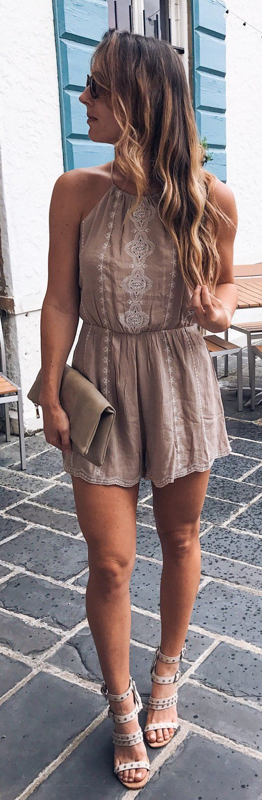 #summer #outfits We Made It Through Monday Y'all!  This Little Boho Romper Is A Must Have For Summer... It's Under $50 And Also Comes In White! // Brown Romper + White Studded Sandals