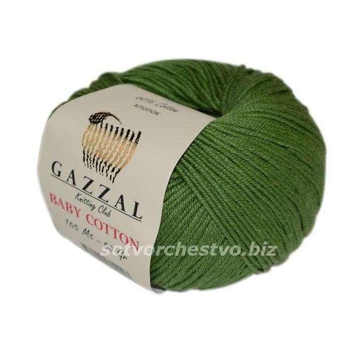 Baby Cotton 3449 зеленый В этом сезоне ТМ Gazzal добавила много новых цветов любимой пряжи - БебиКоттон. Заходите и выбирайте! Цвета на любой вкус.