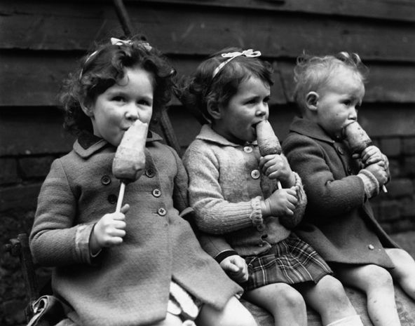Children are eating carrots on sticks, instead of ice creams, because of wartime rationing. BBC - Primary History - World War 2 - Children at war