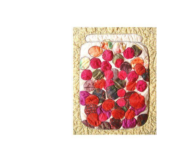 SUMMER DECOR Art Quilt Fruit Compote Textile by BozenaWojtaszek,