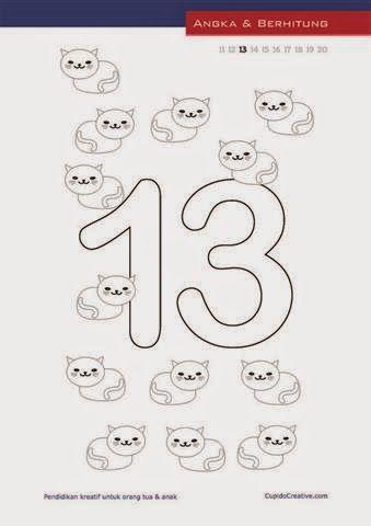 lembar belajar angka untuk paud (balita/TK), menulis & mewarnai angka 11-20