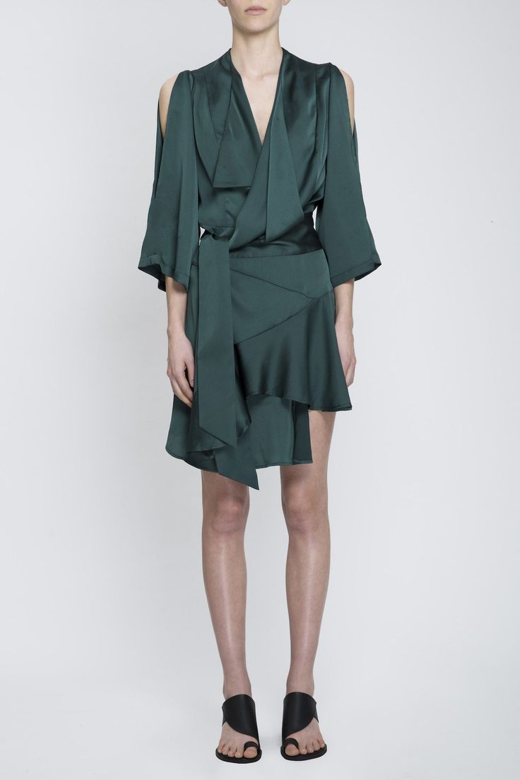 Acler - Swindon Wrap Dress Forest Green