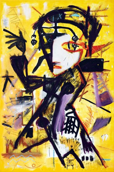 The Noon Painter  ( 2007, acrylic and mixed media on canvas, 90 x 60 cm, private collection )