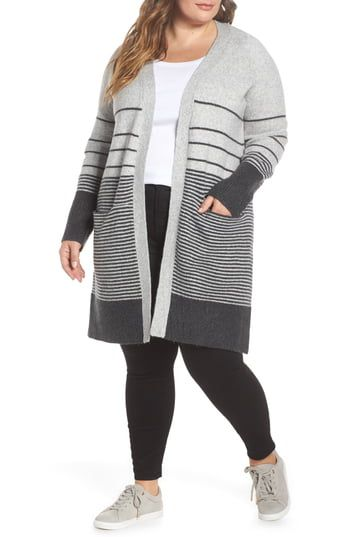 Lucky Brand Stripe Long Open Cardigan (Plus Size)