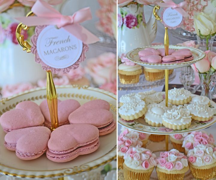 Heart shaped macarons on vintage china. Macarons from Bake Sale Toronto. China from Vintage Dish Rental.