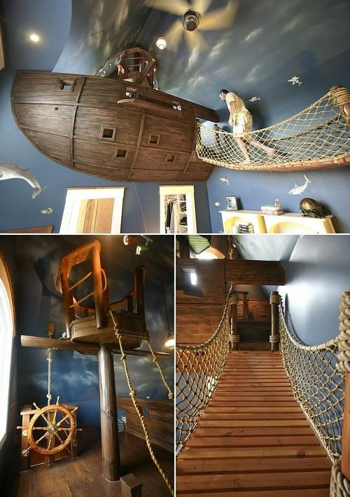Come sail away! I know some boys who would <3 this bedroom! A 6-year-old's pirate-themed bedroom by designer/builder Steve Kuhl. What little boy wouldn't want this? *I* want this!!!