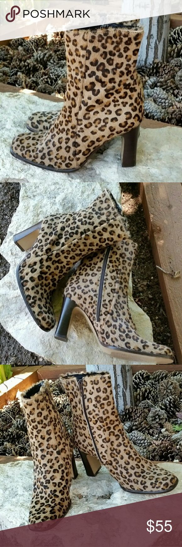 """Charles David Leather Hide Leopard Ankle Boots Charles David Leather Hide Leopard Print Ankle Boots. Made in Italy.  Size 6 1/2.  Zip sides.  2 3/4"""" heels.  Slight sole wear.  Great condition. Charles David Shoes Ankle Boots & Booties"""