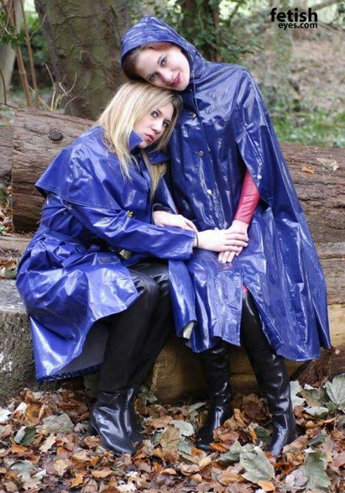Blue PVC Raincoats | Raincoat with rubber gloves, and girl ...