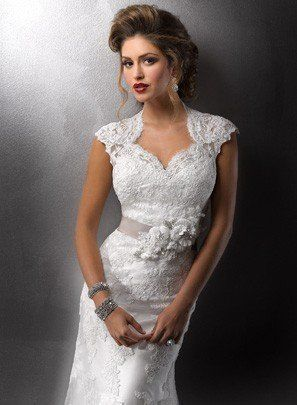 lace wedding dress with high Queen Anne neckline