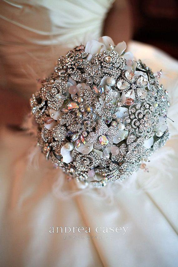 blush pink brooch bouquet