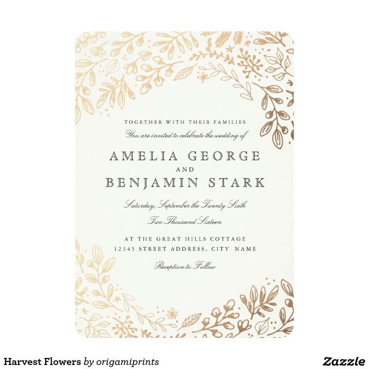 858 best invitations images on pinterest invitations weddings harvest flowers card stopboris Choice Image
