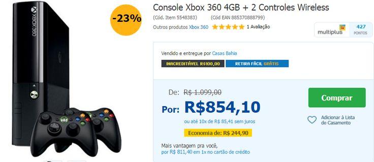 Console Xbox 360 4GB  2 Controles Wireless << R$ 71140 >>