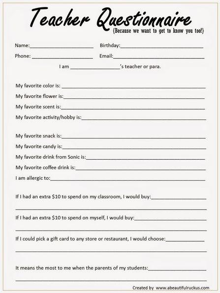 teacher questionnaire for teacher appreciation