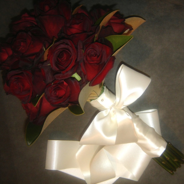 Just red roses bridal bouquet... Pollinate