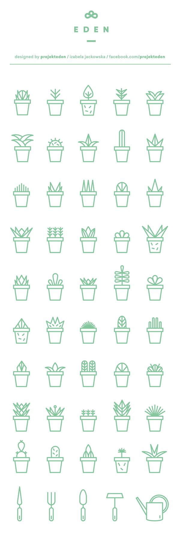 Green succulents icon set for free download. Made with love to cactus and hand…
