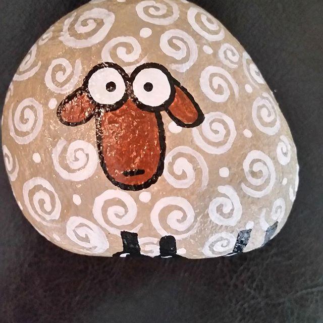 #handpaintedrocks #sheep #swirls #acrylics