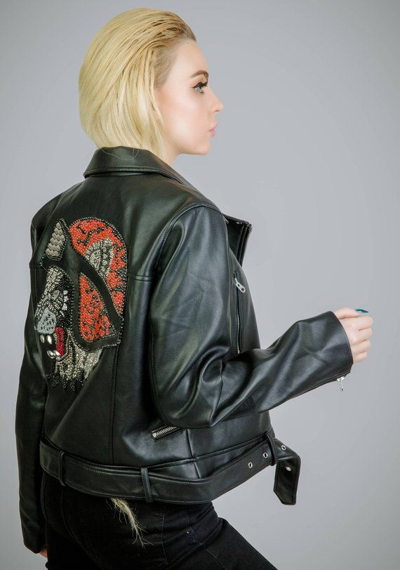 Custom Handmade Crystal Embellished Lion Leather Jacket