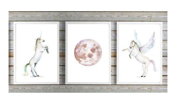 Eenhoorn kunst  vliegend paard  maan kunst  door Lemonillustrations