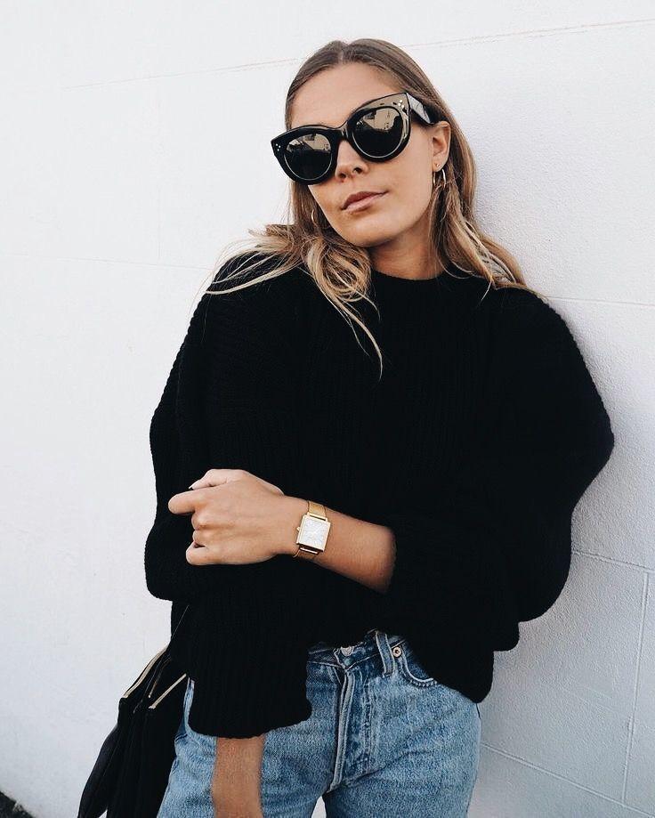 chunky sweater + cat eye sunglasses