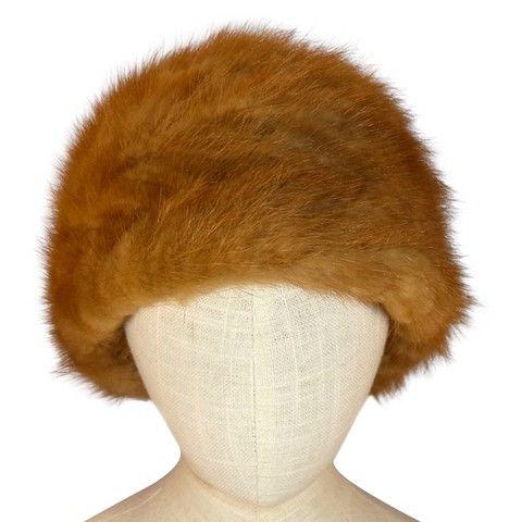 Chapeau d'hiver fourrure vison beige face