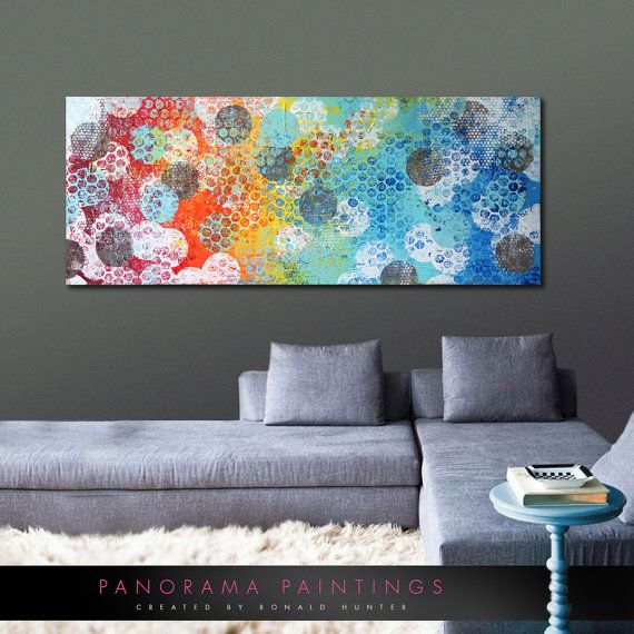 Abstract painting stream cirkeled colors acrylic modern art x panorama paintings