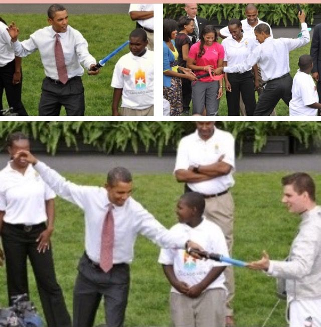 #President Of The United States  #BarackObama shows his fencing stance with a plastic sword during a promotion event for Chicago's bid for hosting 2016 Olympic Games on the South Lawn of White House in Washington D.C., Sept. 16 2009 with #FirstLady Of The United States  #MichelleObama