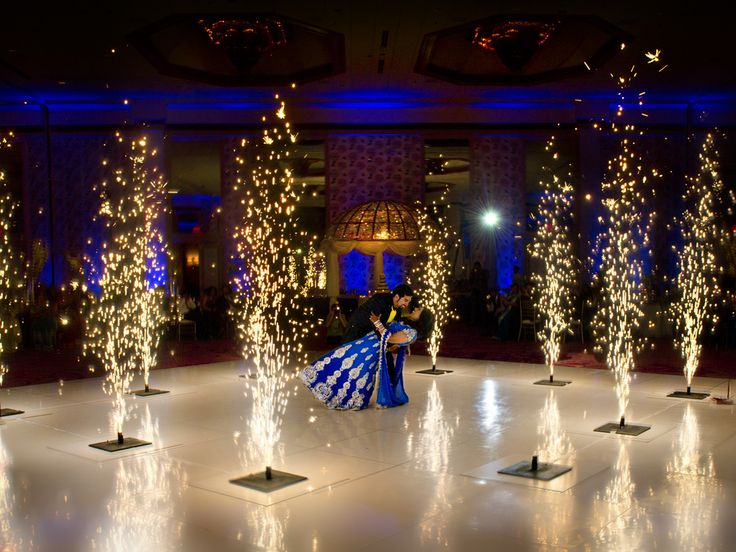 indoor fireworks for the first dance #dallas-texas-indian-wedding-photographers