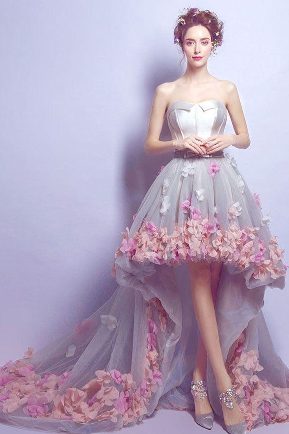 Rose satin bretelles Fleur dentelle asymétrique A-ligne de robe de couleur Cwtb0004