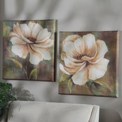 Vintage White Floral Canvas Art Print | Kirkland's