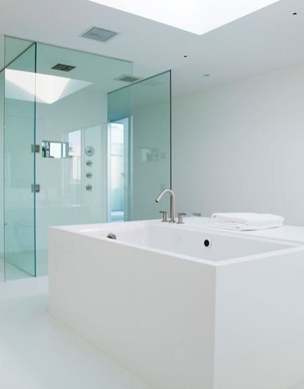 Master bathroom with skylight , Penthouse 1234 Howard St in San Francisco by Stanley Saitowitz  _
