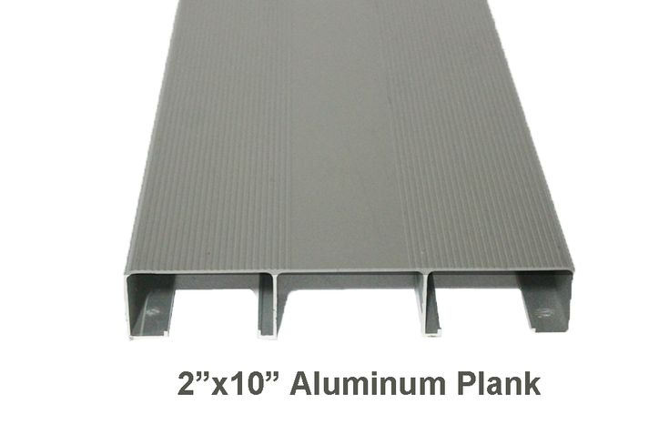 "2"" x 10"" x 15' Mill Finish Aluminum Plank (P21015ML) 	 		  	 		Includes Plank only - no hardware. 	 		Weight Per Foot:  1.7 lb. 	 		  	 		  	 		Aluminum Planks 	 		  	 		  	 		No more looking for broken or weak wooden planks when you renovate with low maintenance aluminum.  We provide expert assistance and sales support when planning your bleacher renovation.  We also offer a variety of aluminum plank profiles that will provide a very sold adaptation to almost all existing understructures. 	…"