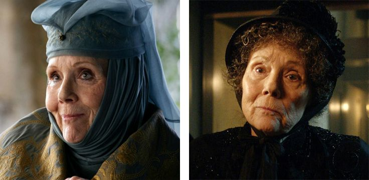 Diana Rigg as Lady Olenna Tyrell in Game of Thrones and as Mrs. Gillyflower in 'The Crimson Horror' - This one surprised me! I completely did NOT recognize her as Mrs. Gillyflower!