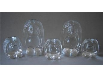 5 glastroll - troll familj - Bergdala på Tradera.com - Glasdjur | Glas |