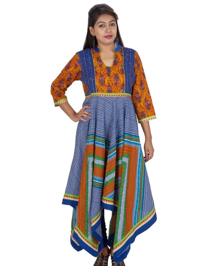 This multicolor kurti is a modern take on traditional indian fabrics,motifs and silhouettes,designed for and sold exclusively on purpleyou.com.  Size Guide: S