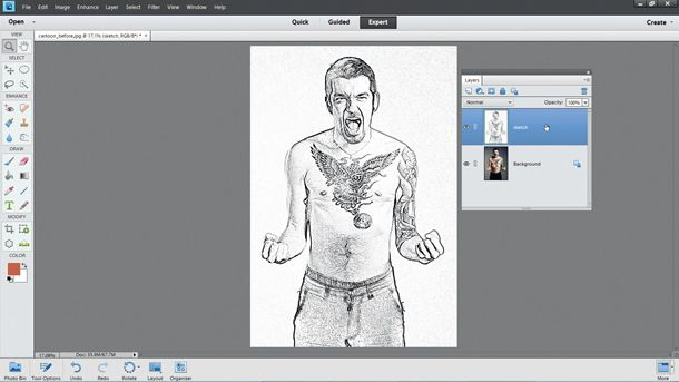 Step by step how to make the photo-to-cartoon effect: step 2