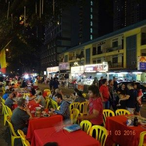 This is the Jalan Alor Night Food Market, KL, Malaysia. Great food and a buzzy atmosphere