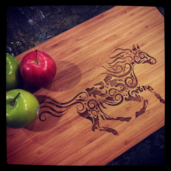 Year of the Horse Beautiful Galloping Horse & perfect Wedding Day Present: Personalized Cutting board for you & your sweetie!