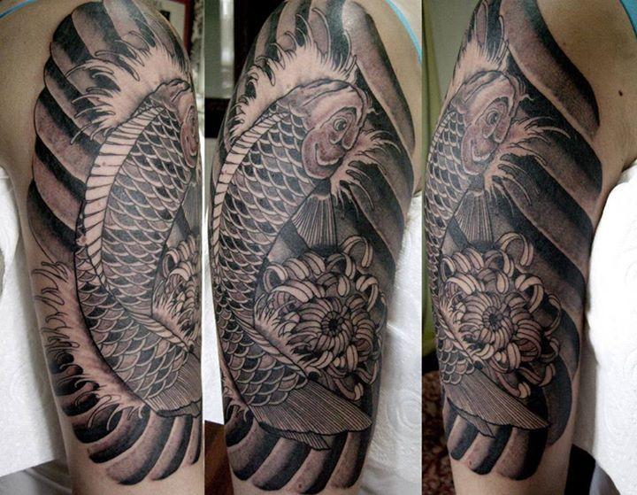 Black And Grey Koi Fish Sleeve Tattoos: Koi Tattoo Black And Greyhelenasaurus