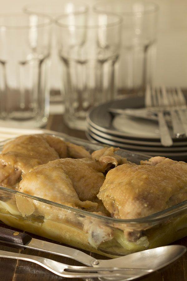 Receta tradicional con Thermomix. Pollo en salsa de ajo y cebolla