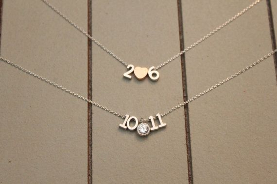 Tiny Matte Number Necklace You Choose Wedding by ashabbypurpose